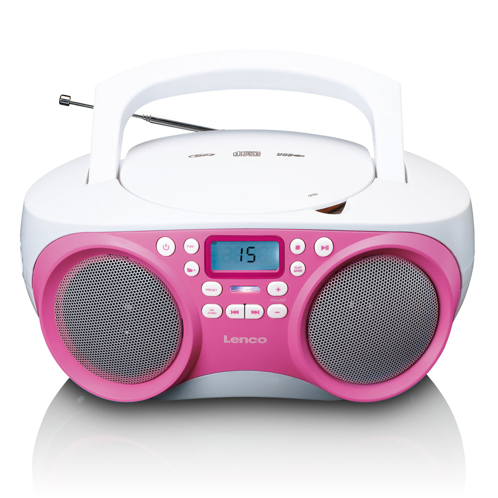 Lenco SCD-301 - Portable FM Radio CD MP3 and USB player - Pink