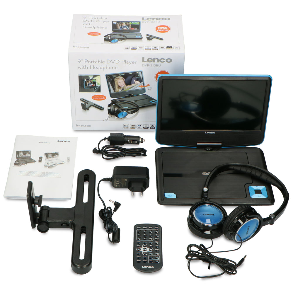 "Lenco DVP-910BU - Portable 9"" DVD player with USB headphones and mounting bracket - Blue/black"