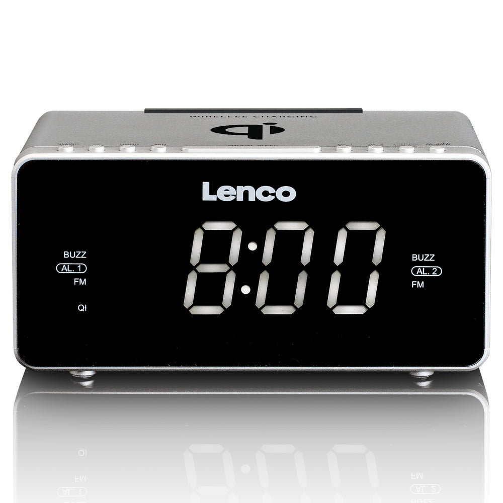 Lenco CR-550SI - Stereo FM Clock Radio with USB and Qi Wireless Smartphone charging - Silver