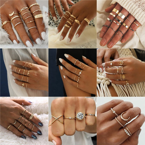 LETAPI New Fashion Gold Color Knuckle Rings Set