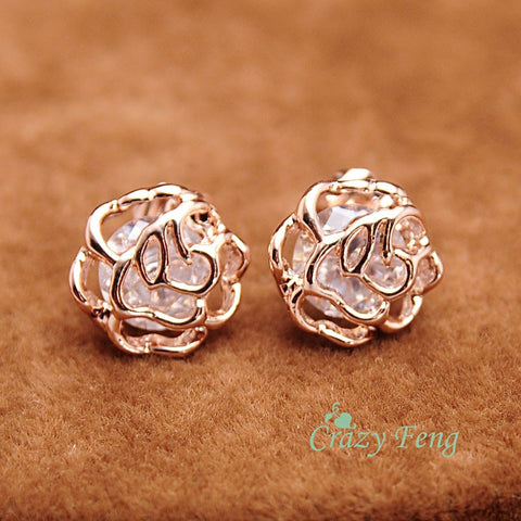 New Cute Small Hollow Out Flower Stud Earrings