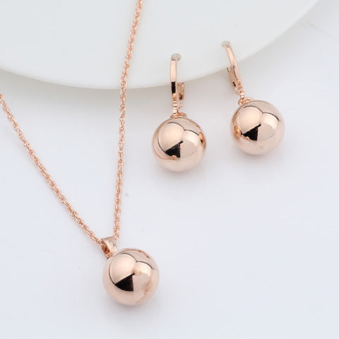 Rose Gold Spherical Ball Geometric  Dangle Earrings Set