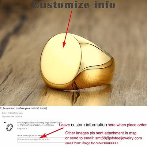Vnox 20mm Chunky Personalize Round Top Signet Ring for Men Glossy Heavy Stainless Steel Stamp Ring Punk Male Boy Custom Anel