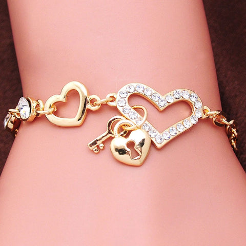 Gold Color Women Love Heart Crystal  Bracelets