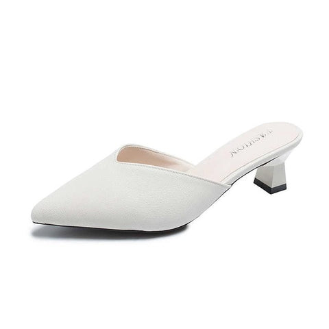 White Spring Office Shoes Women High Heels