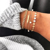 Modyle 4Pcs/set Simple Gold Bracelet