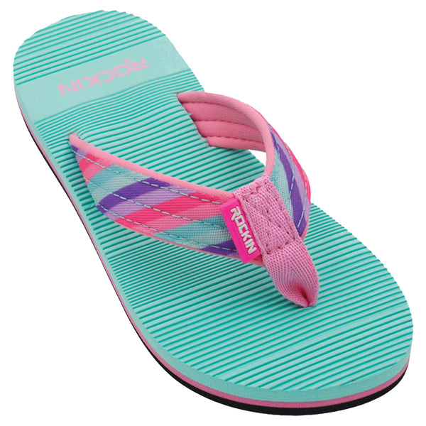 Kids Rainbow Stripes Flip Flops