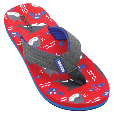 Kids Smiley Sharks Flip Flops