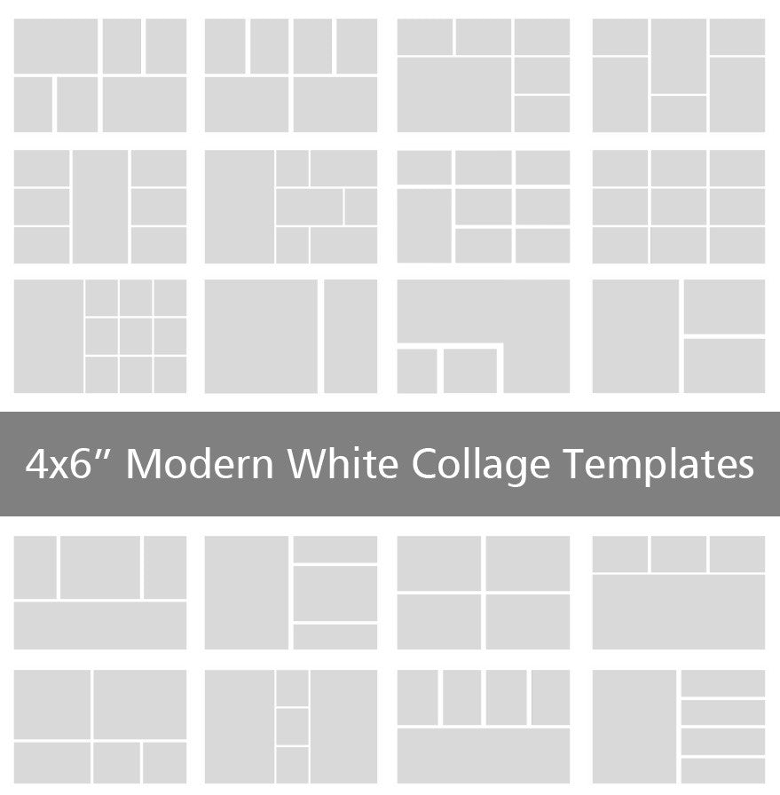 4x6 modern white collage templates discovery center store for 4 picture collage template