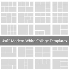 "4x6"" Modern White Collage Templates"