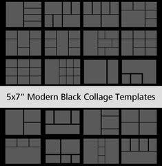 "5x7"" Modern Black Collage Templates"