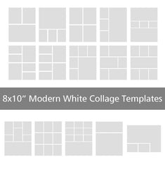 "8x10"" Modern White Collage Templates"