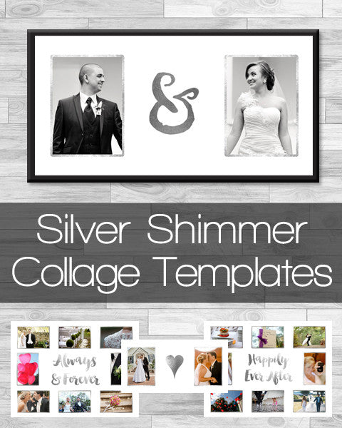 Silver Shimmer Collage Templates