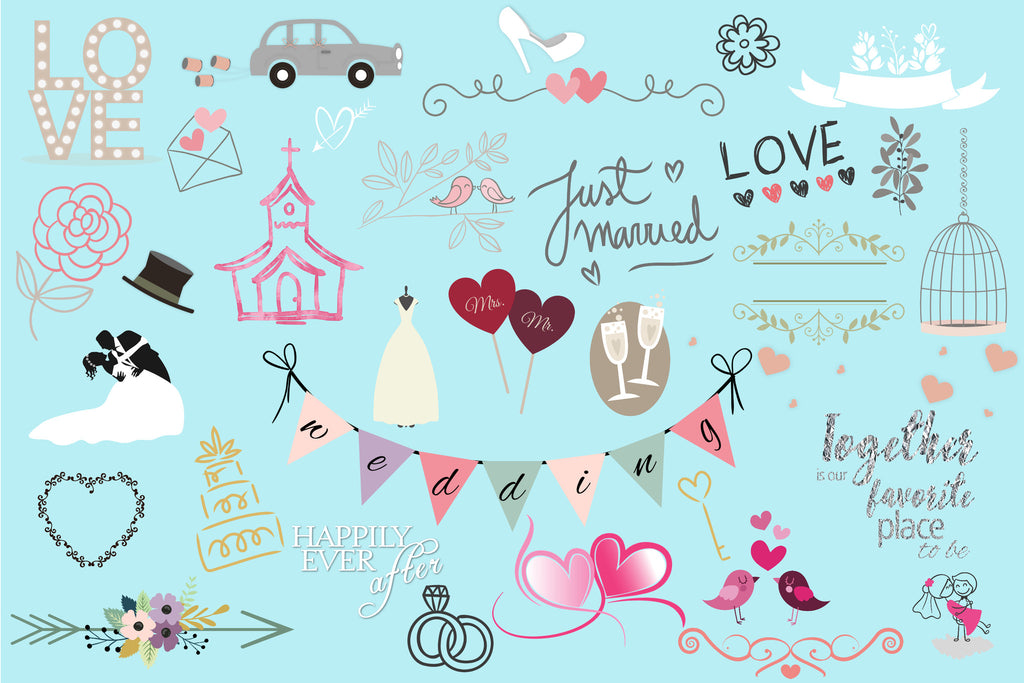 Wedding Clipart (100+ pieces)