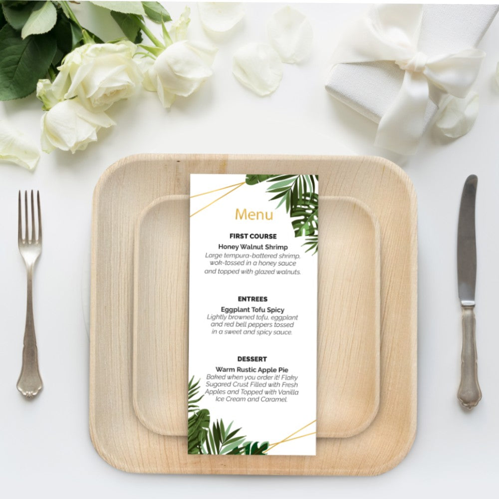 wedding table with palm plates