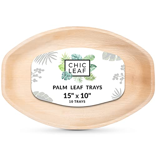 "15"" x 10"" Palm Leaf Trays"