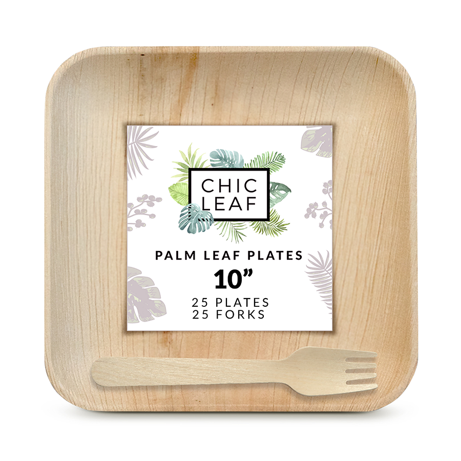 "10"" Palm Leaf Plates + Forks"