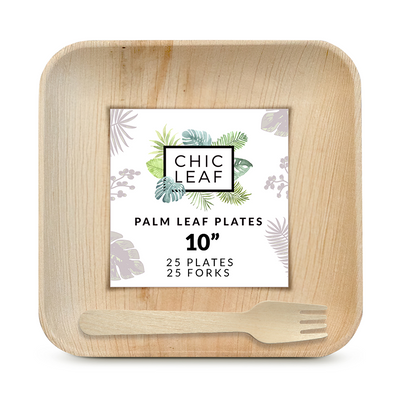"10"" Palm Leaf Square Plates + Forks"