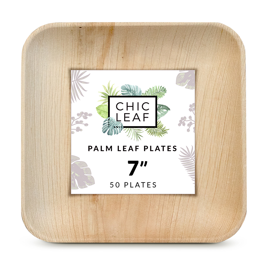 "7"" Palm Leaf Square Plates"