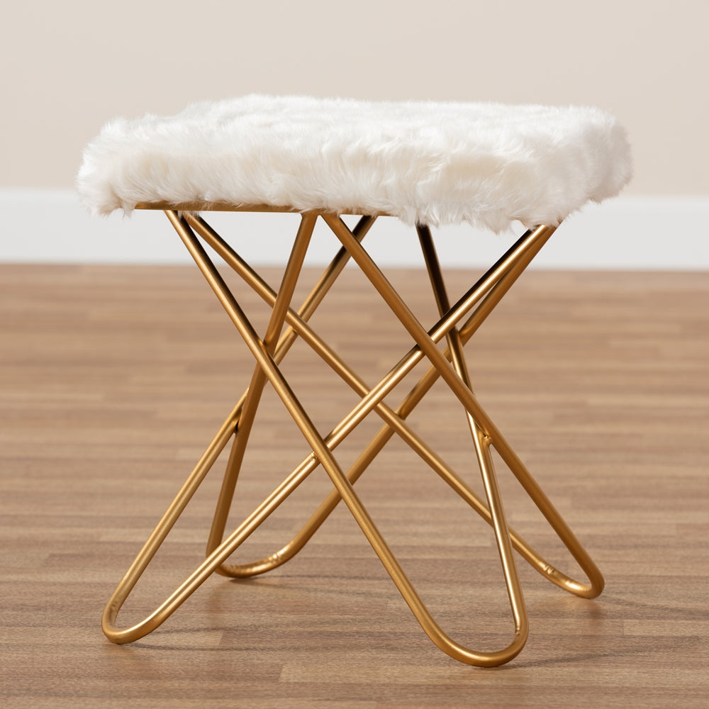 VALLE GLAM AND LUXE WHITE FAUX FUR UPHOLSTERED GOLD FINISHED METAL OTTOMAN