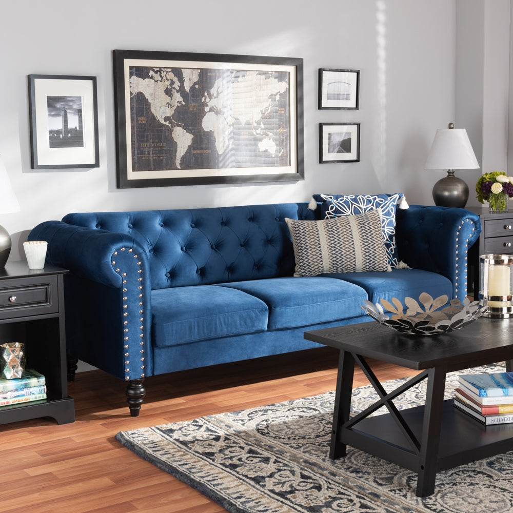EMMA TRADITIONAL AND TRANSITIONAL NAVY BLUE VELVET FABRIC UPHOLSTERED AND BUTTON TUFTED CHESTERFIELD SOFA