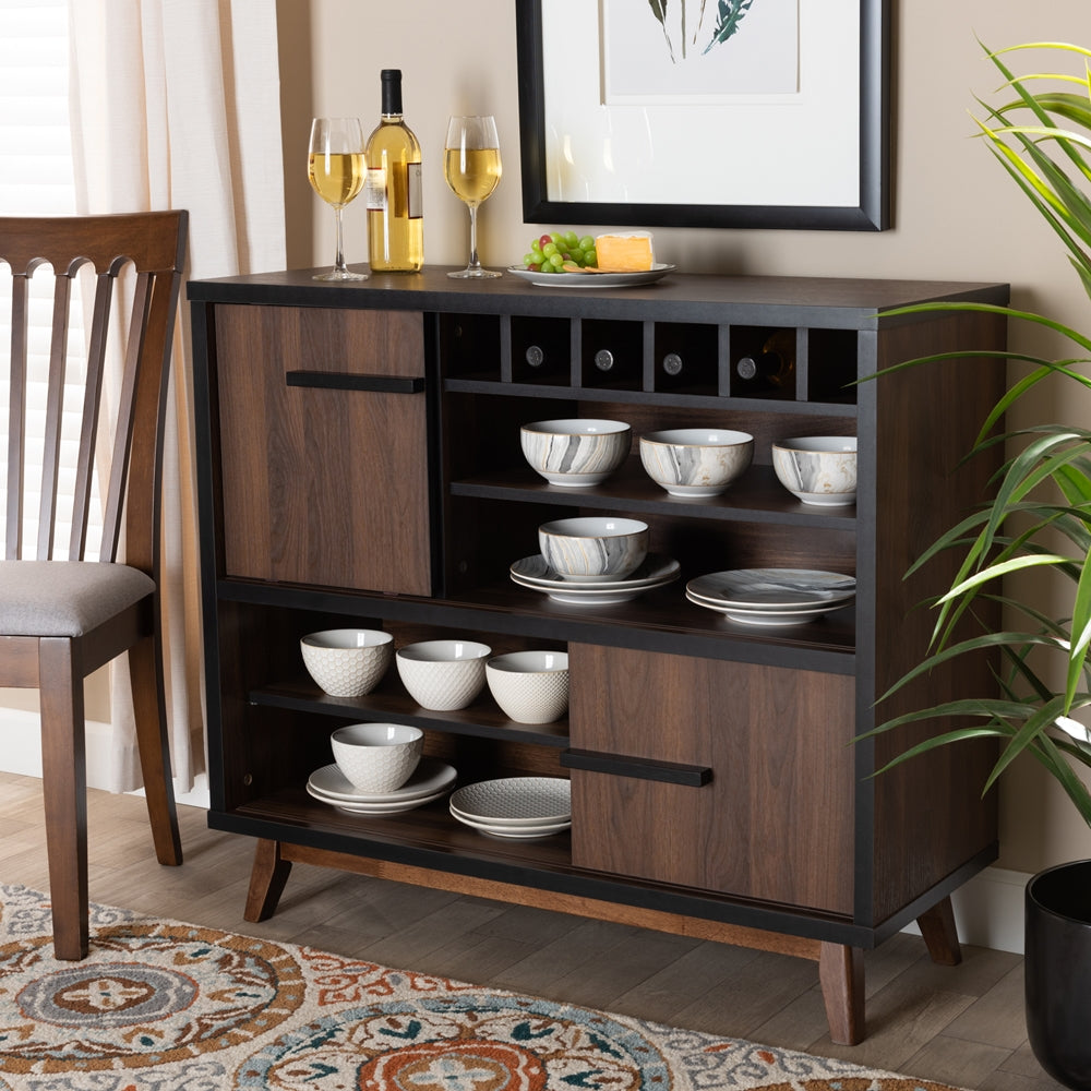 MARGO MID-CENTURY MODERN TWO-TONE WALNUT BROWN AND BLACK FINISHED WOOD WINE STORAGE CABINET