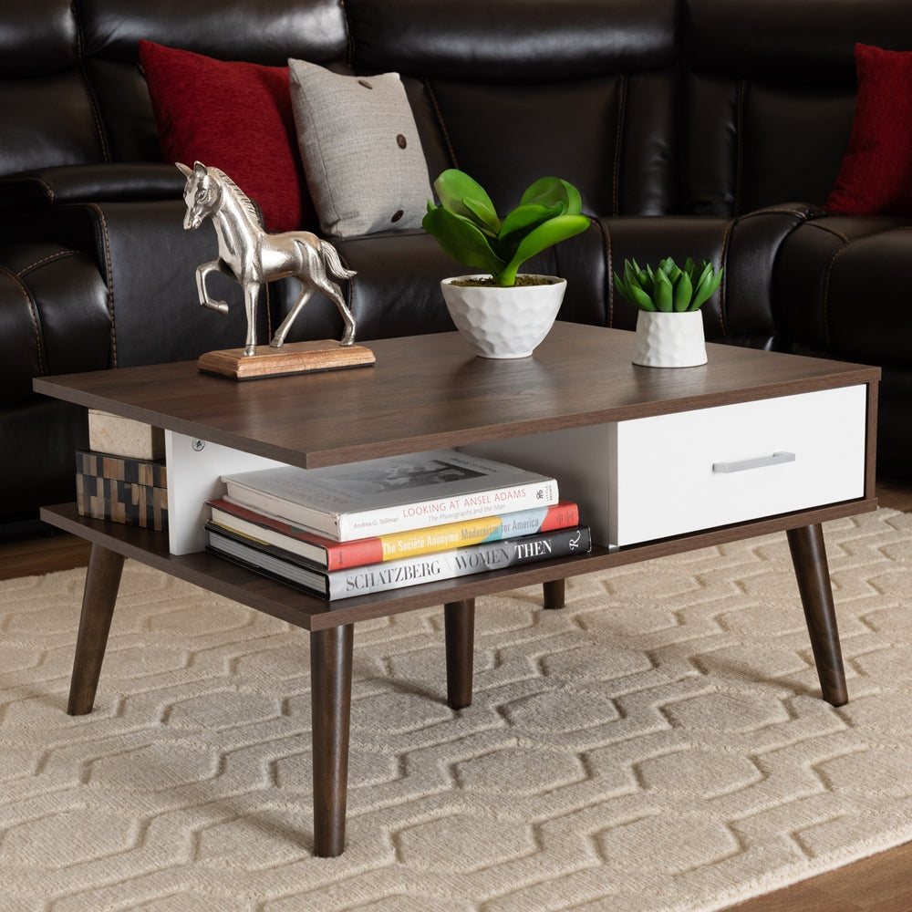 MERLIN MID-CENTURY MODERN TWO-TONE WALNUT AND WHITE FINISHED 2-DRAWER WOOD COFFEE TABLE