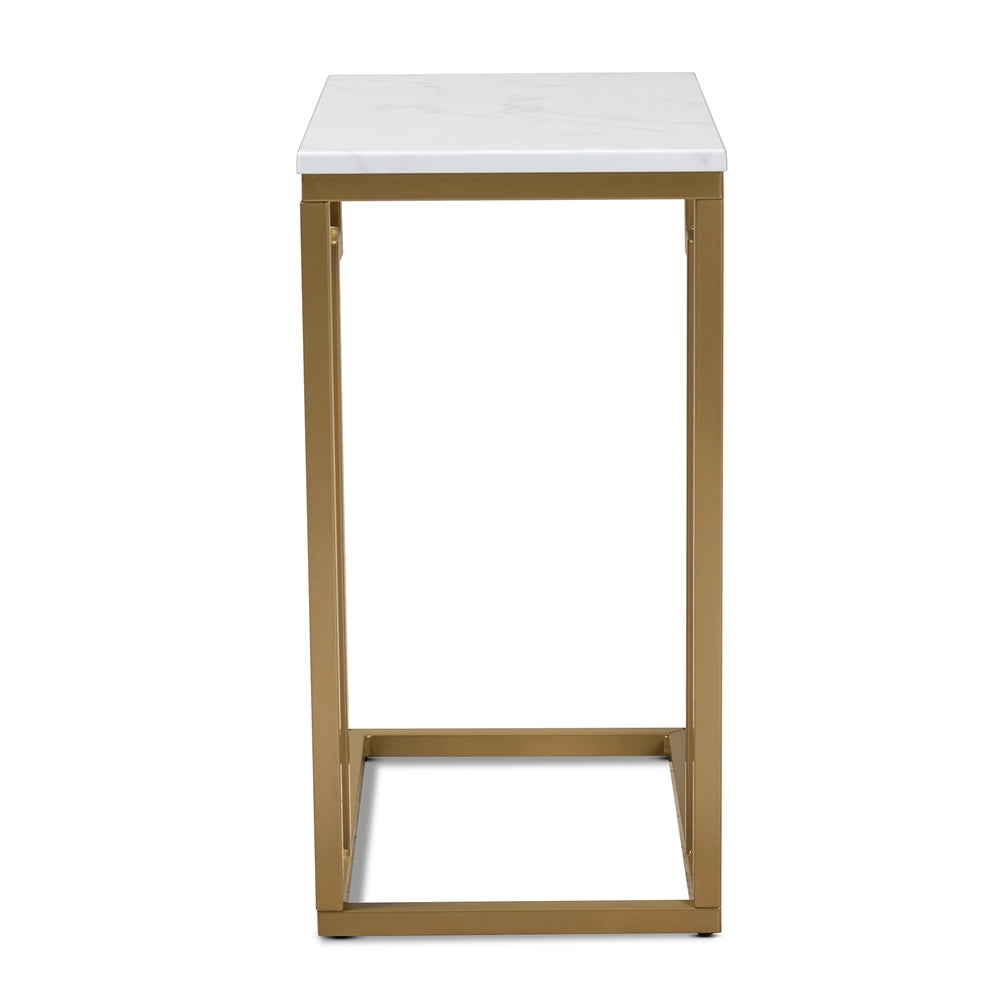 RENZO MODERN AND CONTEMPORARY BRUSHED GOLD FINISHED METAL END TABLE WITH FAUX MARBLE TABLETOP