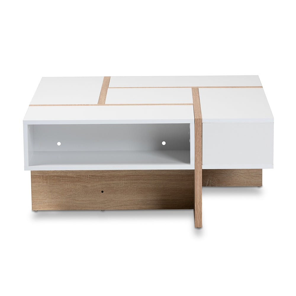 RASA MODERN AND CONTEMPORARY TWO-TONE WHITE AND OAK FINISHED WOOD COFFEE TABLE