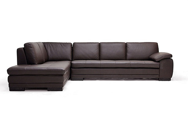 DIANA DARK BROWN SOFA/CHAISE SECTIONAL REVERSE