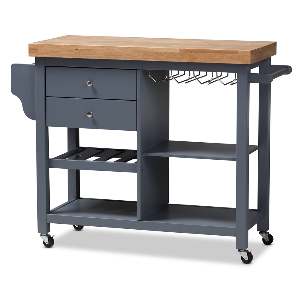SUNDERLAND COASTAL AND FARMHOUSE GREY WOOD KITCHEN CART