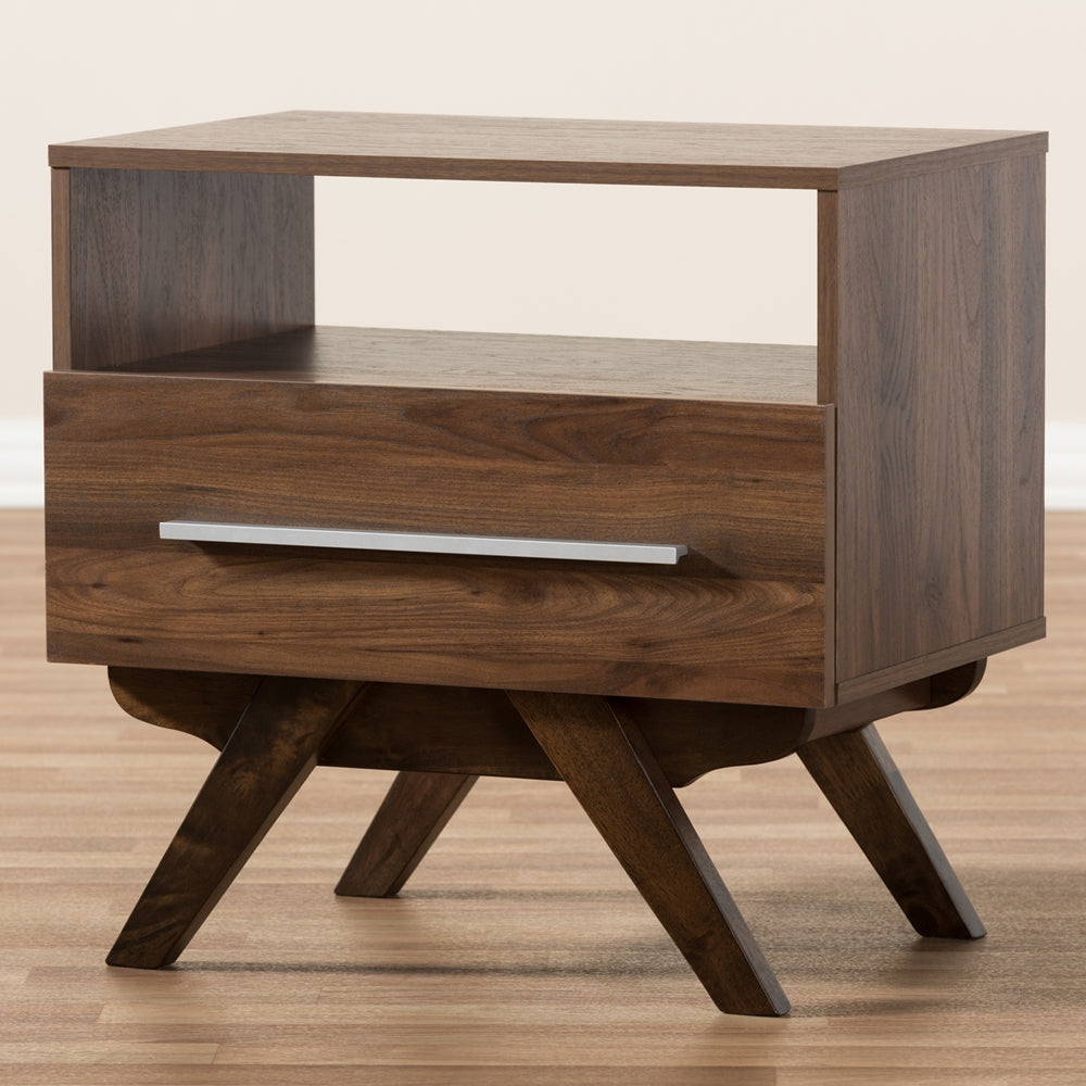 ASHFIELD MID-CENTURY MODERN WALNUT BROWN FINISHED WOOD NIGHTSTAND