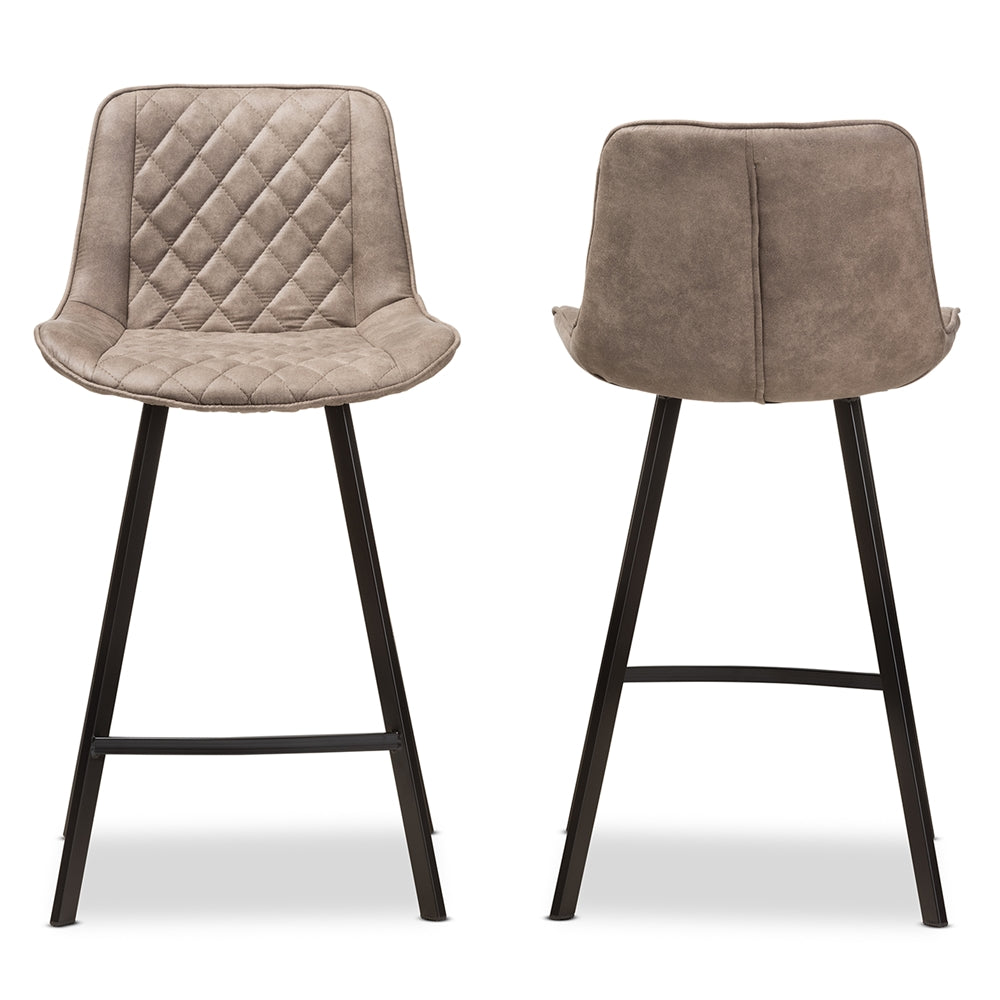 PICKFORD MID-CENTURY MODERN LIGHT BROWN FABRIC UPHOLSTERED COUNTER STOOL SET OF 2
