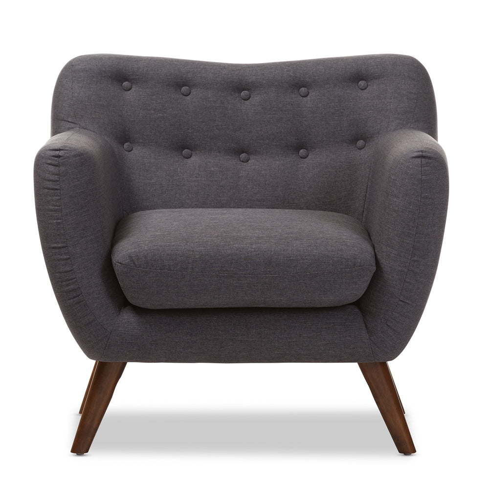 HARPER MID-CENTURY MODERNDARK GREY FABRIC UPHOLSTERED WALNUT WOOD BUTTON-TUFTED ARMCHAIR