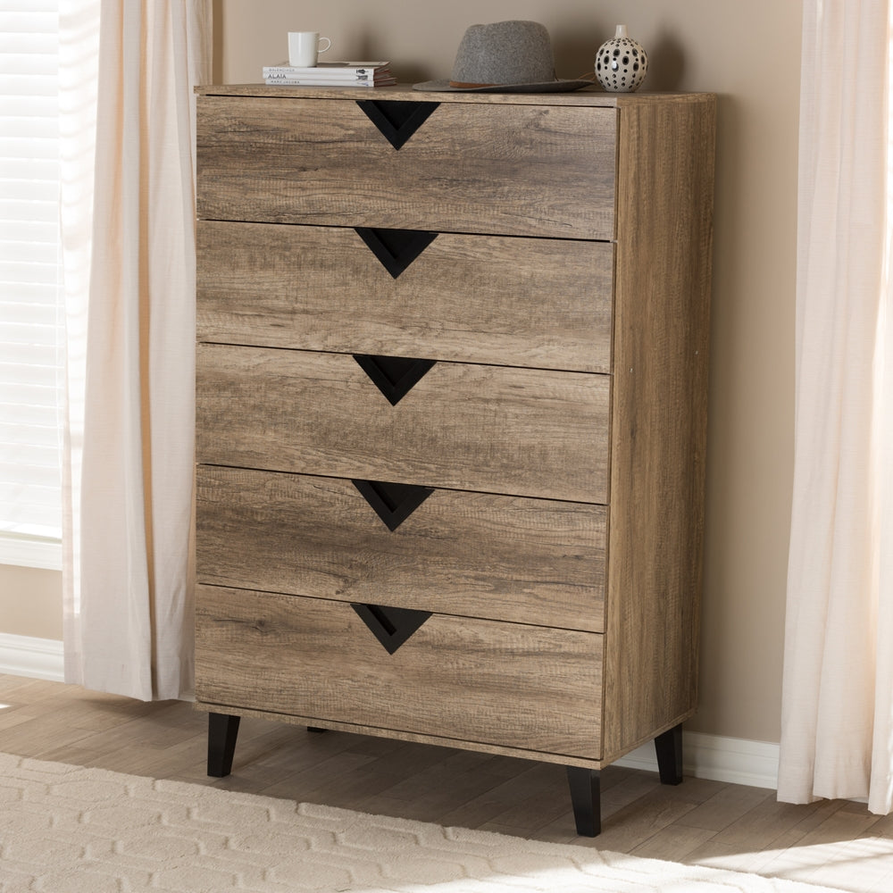 WALES MODERN AND CONTEMPORARY LIGHT BROWN WOOD 5-DRAWER CHEST