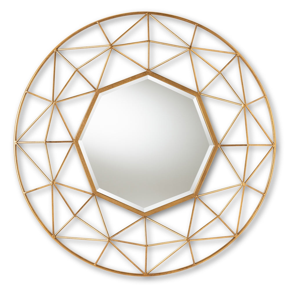 ASTRA MODERN AND CONTEMPORARY GOLD FINISHED GEOMETRIC ACCENT WALL MIRROR