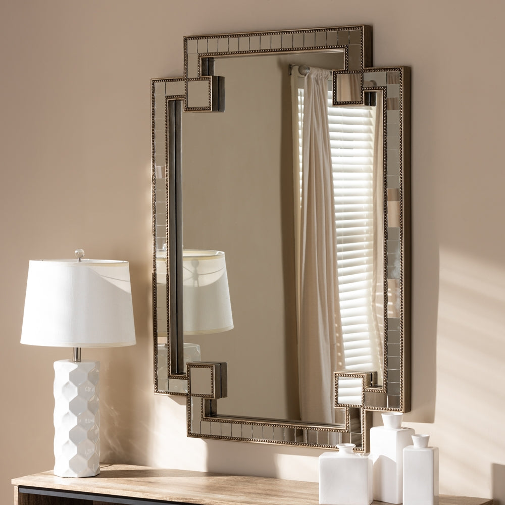 FIORELLA MODERN AND CONTEMPORARY ANTIQUE SILVER FINISHED STUDDED ACCENT WALL MIRROR