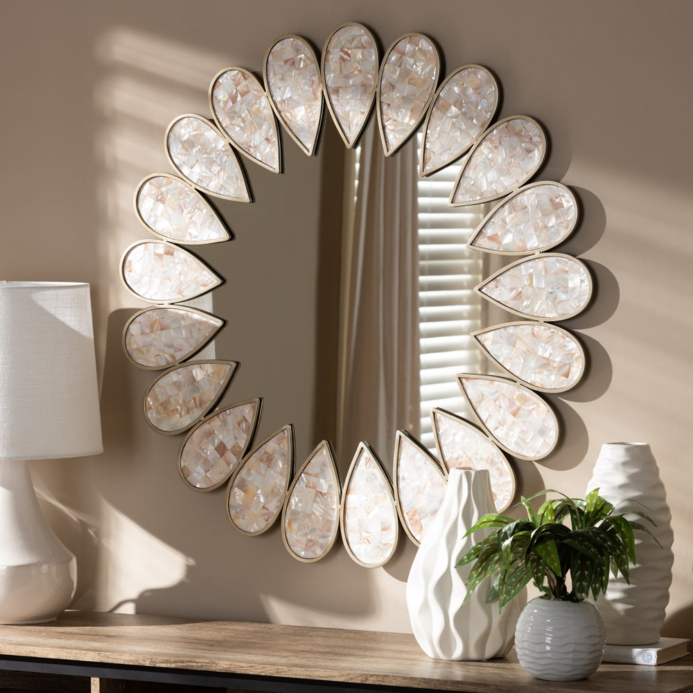 SAVITA MODERN AND CONTEMPORARY ANTIQUE SILVER FINISHED ROUND SHELL PETAL ACCENT WALL MIRROR