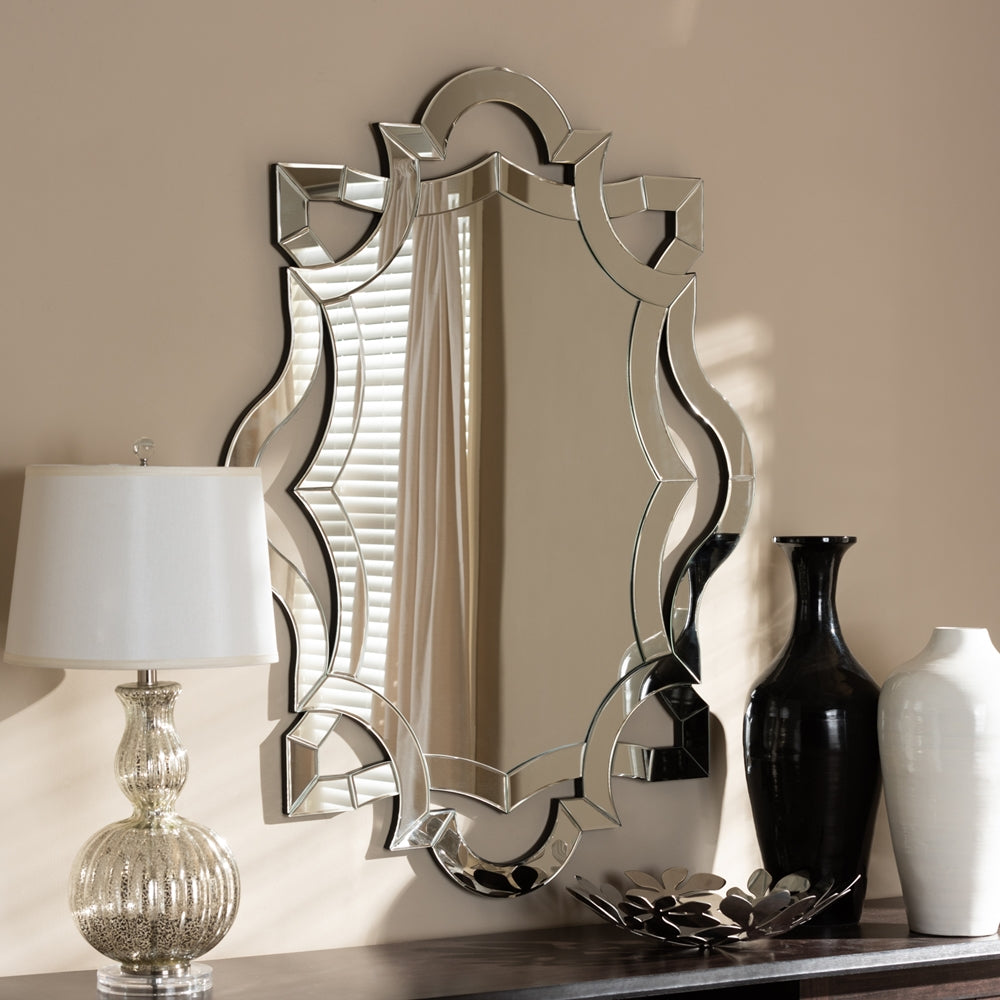 COLINA MODERN AND CONTEMPORARY SILVER FINISHED ACCENT WALL MIRROR