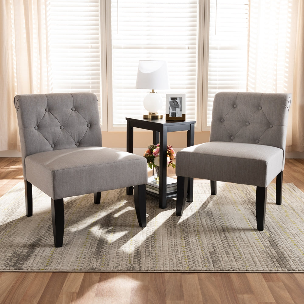 VEDA TRANSITIONAL 3-PIECE DARK GRAY FABRIC UPHOLSTERED AND BLACK-FINISHED WOOD ACCENT CHAIR AND TABLE SET