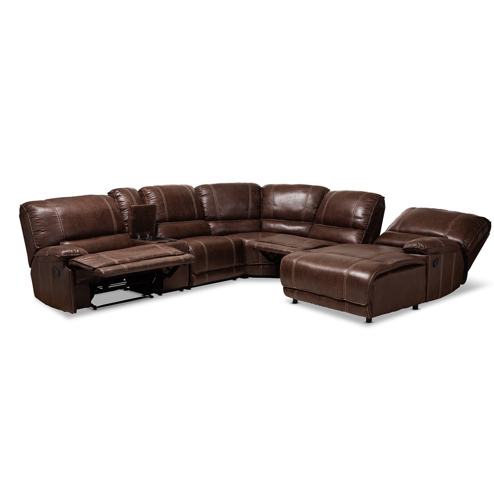 SALOMO MODERN AND CONTEMPORARY BROWN FAUX LEATHER UPHOLSTERED 6-PIECE SECTIONAL RECLINER SOFA WITH 3 RECLINING SEATS