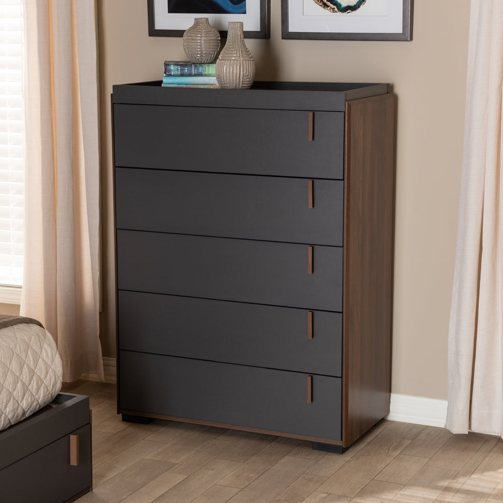 RIKKE MODERN AND CONTEMPORARY TWO-TONE GRAY AND WALNUT FINISHED WOOD 5-DRAWER CHEST