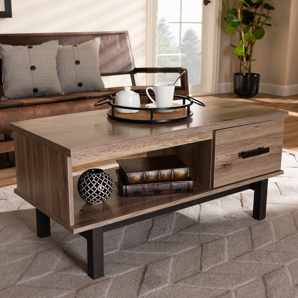 AREND MODERN AND CONTEMPORARY TWO-TONE OAK BROWN AND BLACK WOOD 1-DRAWER COFFEE TABLE