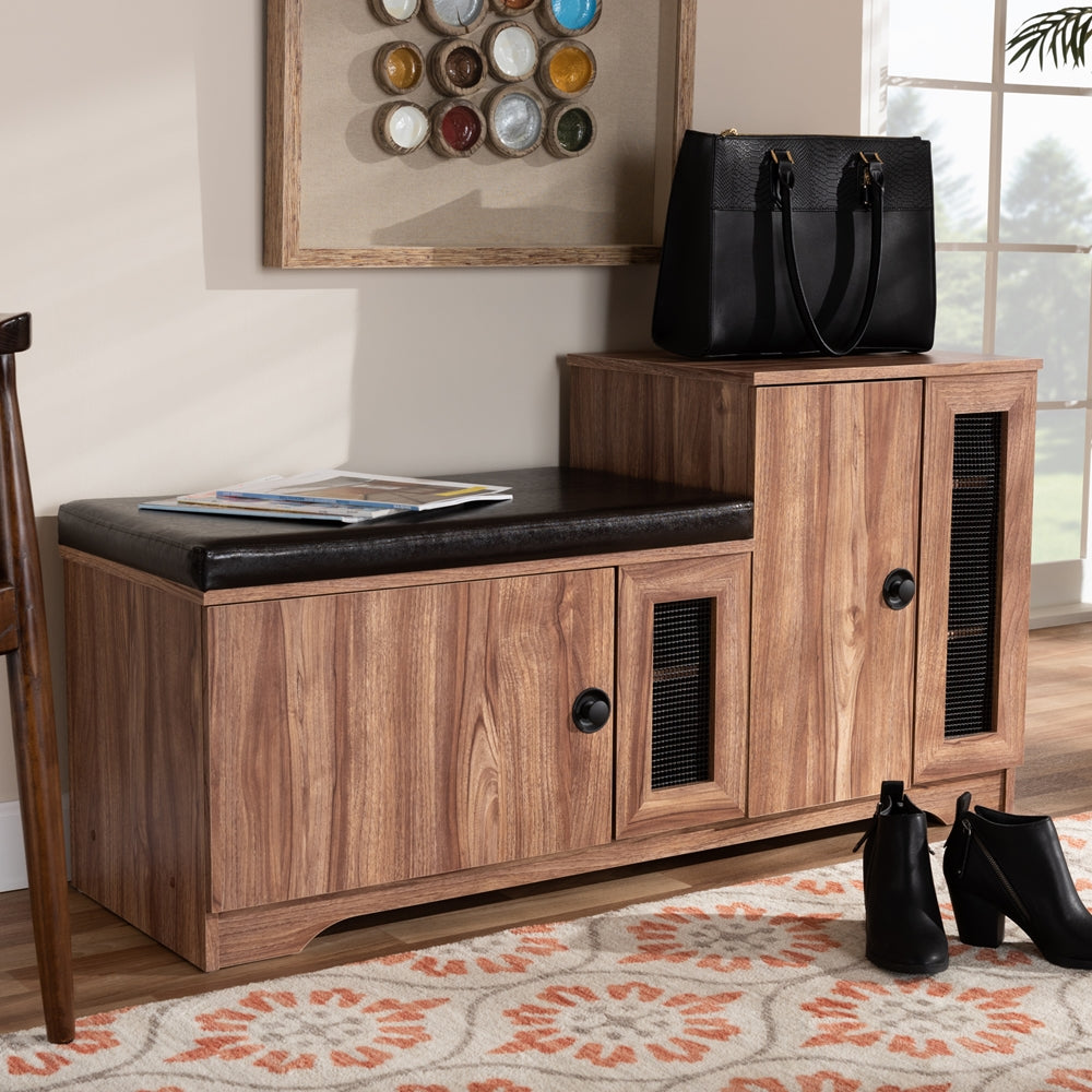 VALINA MODERN AND CONTEMPORARY DARK BROWN FAUX LEATHER UPHOLSTERED 2-DOOR WOOD SHOE STORAGE BENCH WITH CABINET