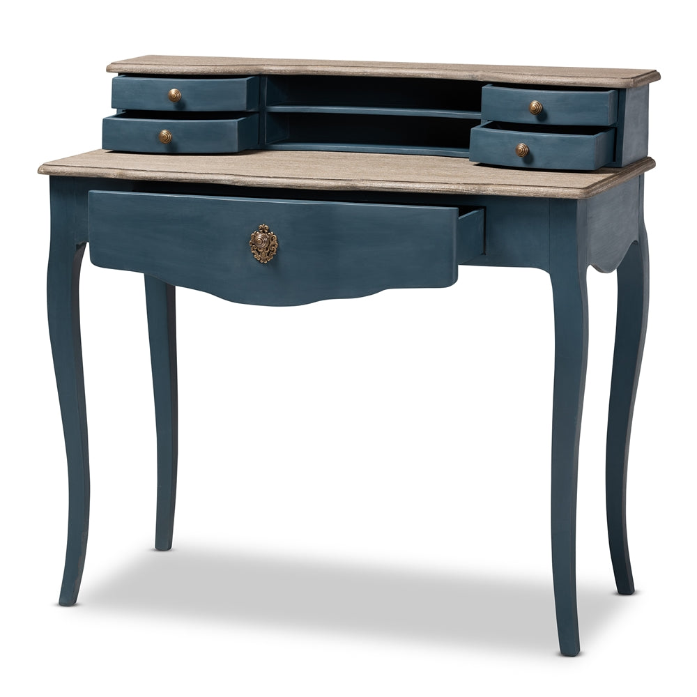 CELESTINE FRENCH PROVINCIAL BLUE SPRUCE FINISHED WOOD ACCENT WRITING DESK