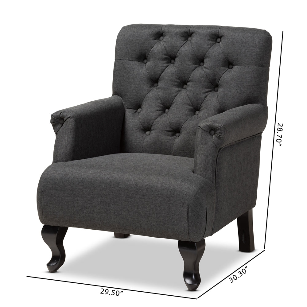 BELAN CLASSIC AND TRADITIONAL GRAY FABRIC UPHOLSTERED BUTTON TUFTED ARMCHAIR