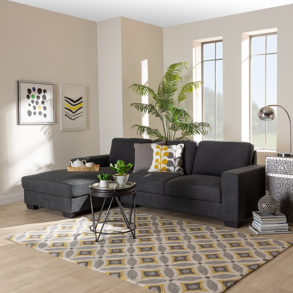 NEVIN MODERN AND CONTEMPORARY DARK GREY FABRIC UPHOLSTERED SECTIONAL SOFA WITH LEFT FACING CHAISE