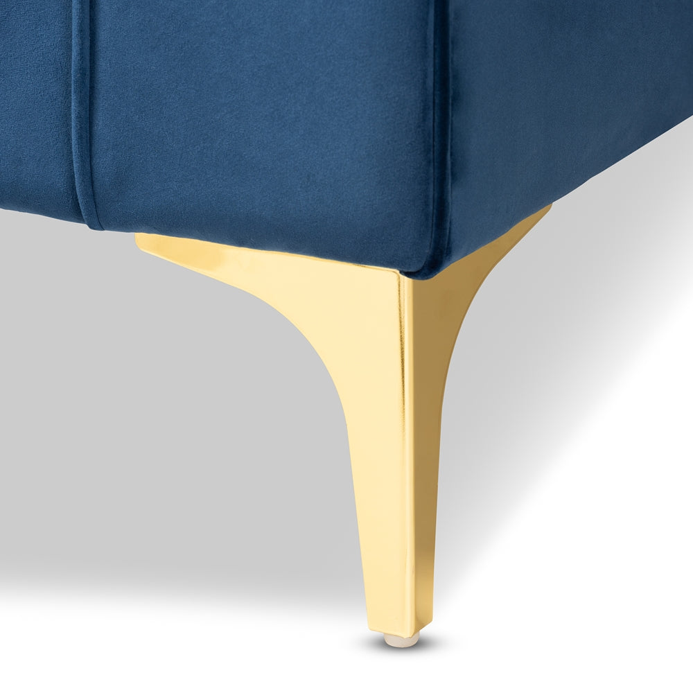 GISELLE GLAM AND LUXE NAVY BLUE VELVET FABRIC UPHOLSTERED MIRRORED GOLD FINISHED LEFT FACING SECTIONAL SOFA WITH CHAISE