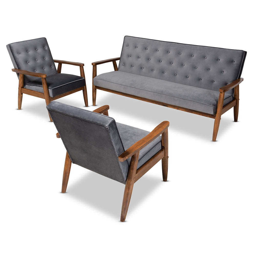 SORRENTO MID-CENTURY MODERN GREY VELVET FABRIC UPHOLSTERED WALNUT FINISHED 3-PIECE WOODEN LIVING ROOM SET