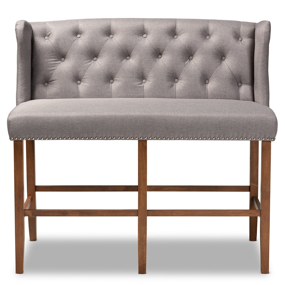 ALIRA MODERN AND CONTEMPORARY GREY FABRIC UPHOLSTERED WALNUT FINISHED WOOD BUTTON TUFTED BAR STOOL BENCH